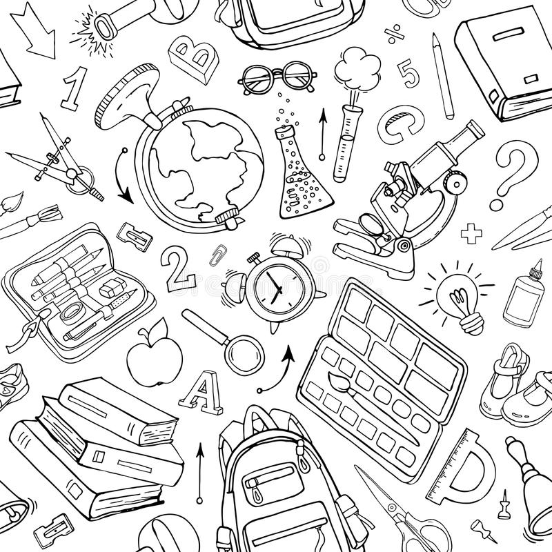 Vector seamless pattern of doodle school supplies. Sketchy background royalty free illustration