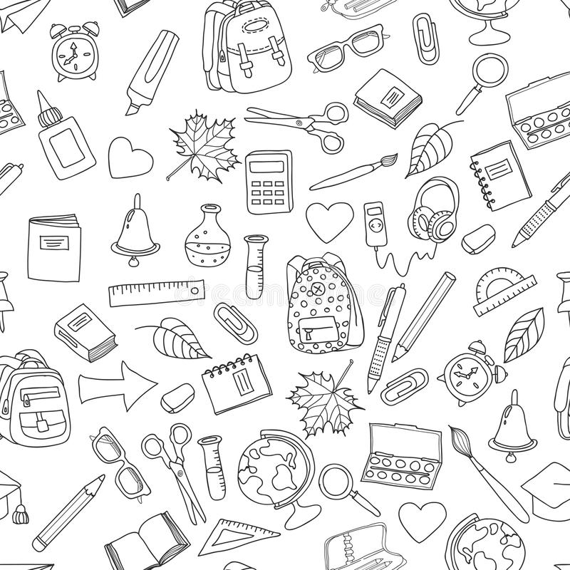 Vector seamless pattern with doodle school tools. stock illustration