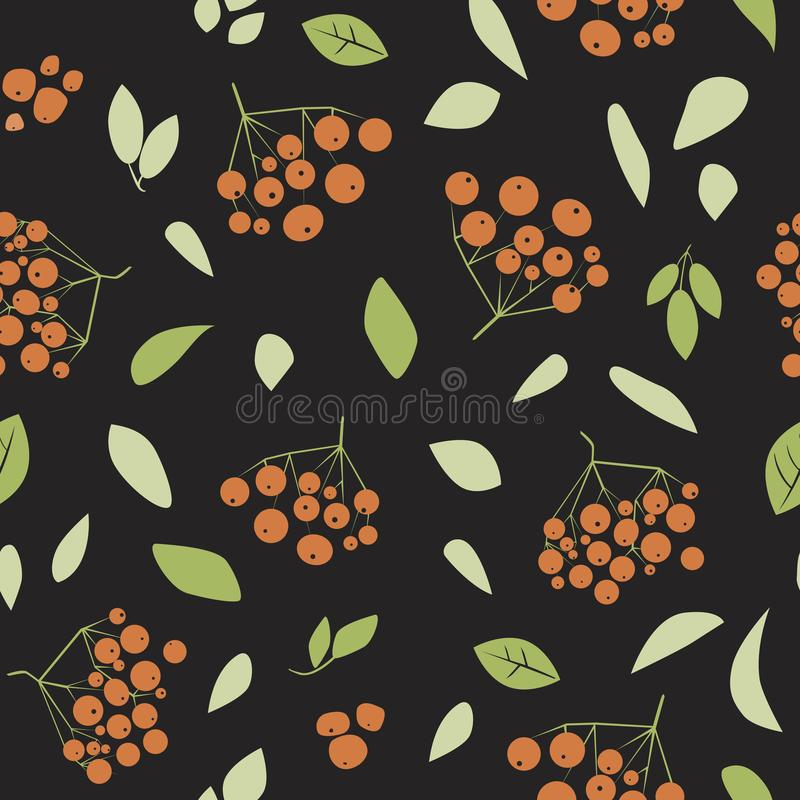 A vector seamless pattern in doodle style with rowan fruits and plants on a black background stock illustration