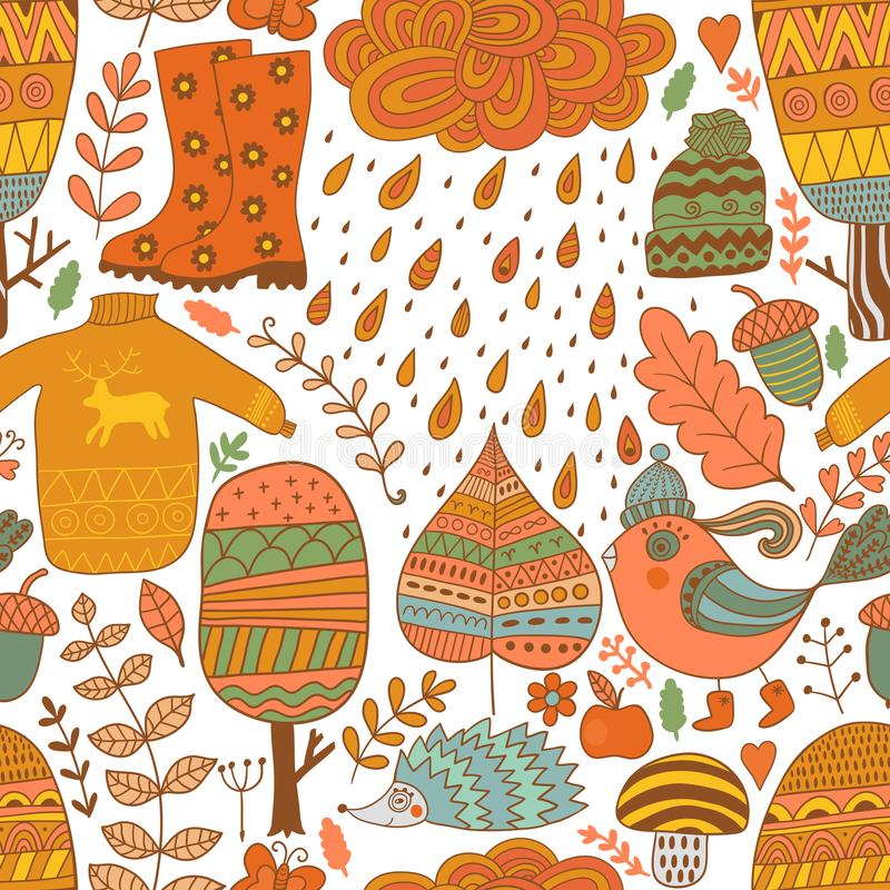 Vector seamless pattern, doodling autumn design. Hand draw trees and leafs over the city. Season of the rain. Illustration, cute background. Color doodle stock illustration