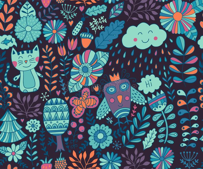 Vector seamless pattern, doodling design. Hand draw flowers and leafs. Kids illustration, cute background. Color doodle background vector illustration