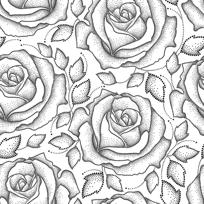 Vector seamless pattern with dotted rose flowers and leaves in black on the white background. Floral background with open roses. vector illustration