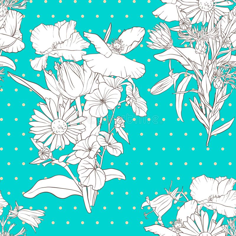 Vector seamless pattern with flowers royalty free illustration