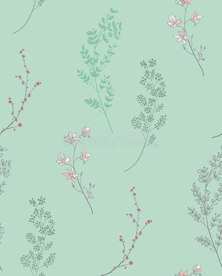 Vector Seamless Pattern with Drawn Branches, Plants. Vector Colorful Decorative Seamless Backdround Pattern with Drawn Herbs, Plants, Branches. Doodle Style vector illustration
