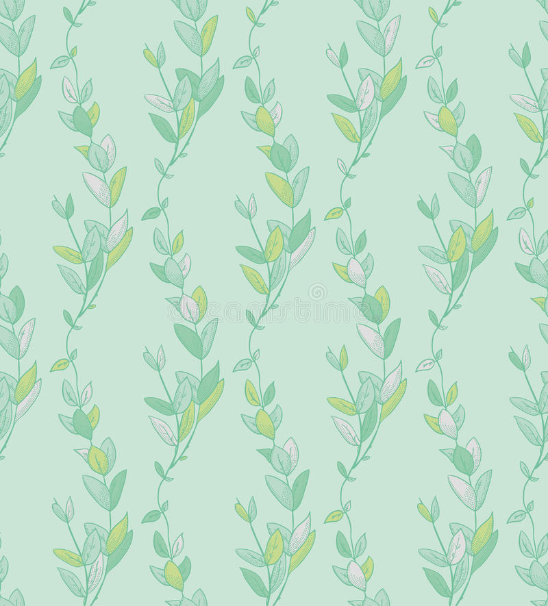 Vector Seamless Pattern with Drawn Branches, Plants. Vector Colorful Decorative Seamless Backdround Pattern with Drawn Herbs, Plants, Branches. Doodle Style stock illustration