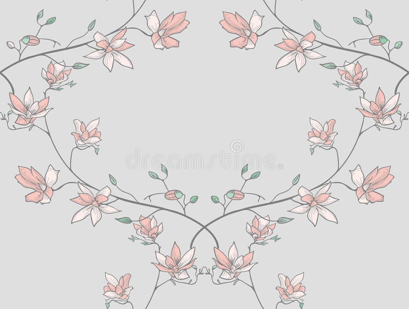 Vector Seamless Pattern with Drawn Branches, Plants. Vector Colorful Decorative Seamless Backdround Pattern with Drawn Herbs, Plants, Branches. Doodle Style royalty free illustration
