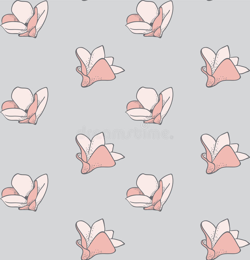 Vector Seamless Pattern with Drawn Flowers, Blossom. Vector Colorful Decorative Seamless Backdround Pattern with Drawn Flowers, Blossom, Plants. Doodle Style vector illustration