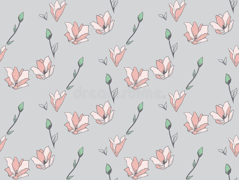 Vector Seamless Pattern with Drawn Flowers, Blossom. Vector Colorful Decorative Seamless Backdround Pattern with Drawn Flowers, Blossom, Plants. Doodle Style stock illustration
