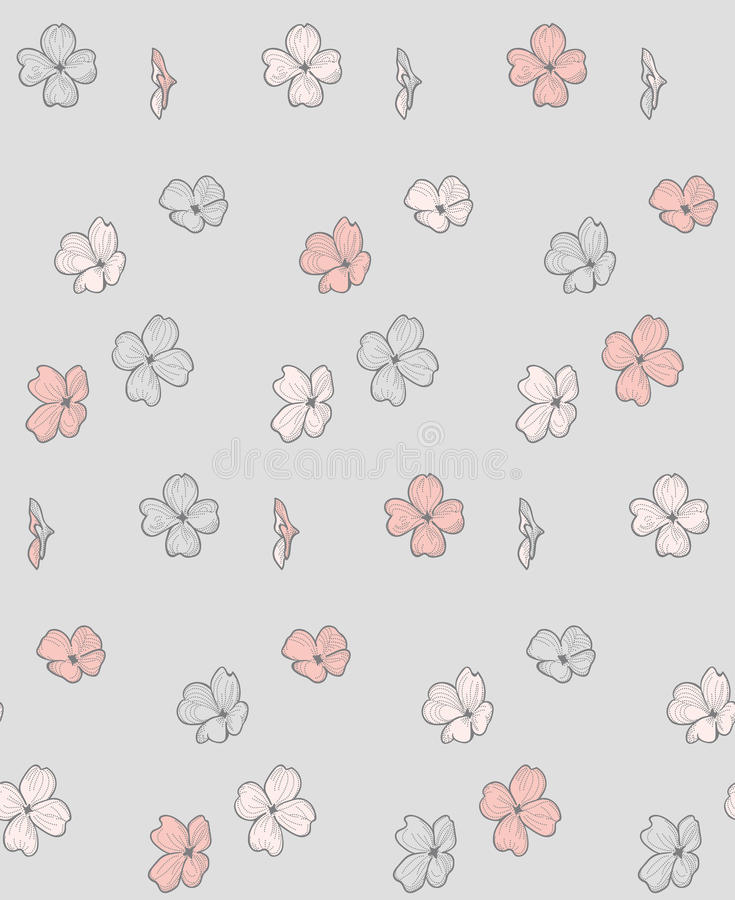 Vector Seamless Pattern with Drawn Flowers, Blossom. Vector Decorative Seamless Backdround Pattern with Drawn Flowers, Blossom, Plants. Doodle Style. Vector vector illustration
