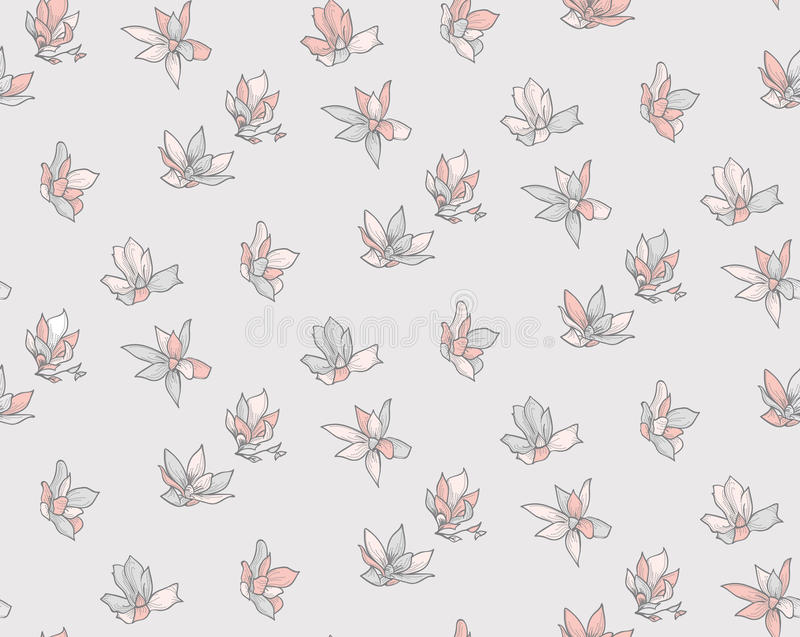 Vector Seamless Pattern with Drawn Flowers, Blossom. Vector Decorative Seamless Backdround Pattern with Drawn Flowers, Blossom, Plants. Doodle Style. Vector stock illustration