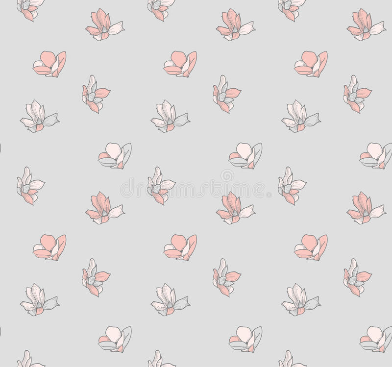Vector Seamless Pattern with Drawn Flowers, Blossom. Vector Decorative Seamless Backdround Pattern with Drawn Flowers, Blossom, Plants. Doodle Style. Vector royalty free illustration