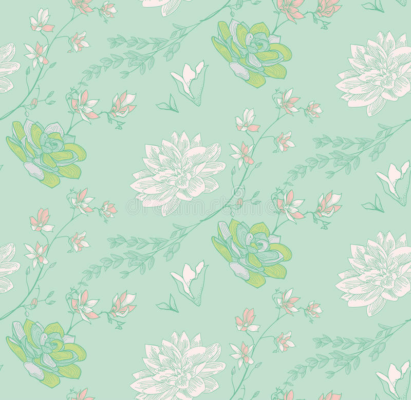 Vector Seamless Pattern with Drawn Flowers, Branches, Plants. Vector Colorful Decorative Seamless Backdround Pattern with Drawn Flowers, Herbs, Plants, Branches stock illustration