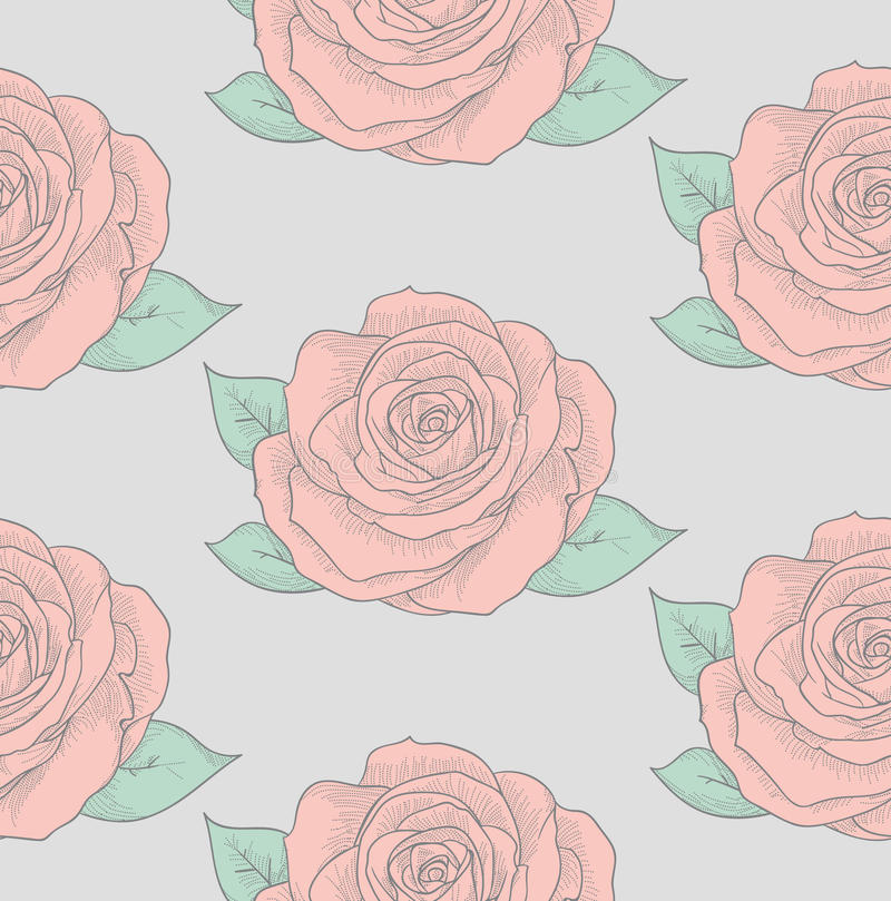 Vector Seamless Pattern with Drawn Flowers, Roses. Vector Colorful Decorative Seamless Backdround Pattern with Drawn Flowers, Roses. Doodle Style. Vector stock illustration