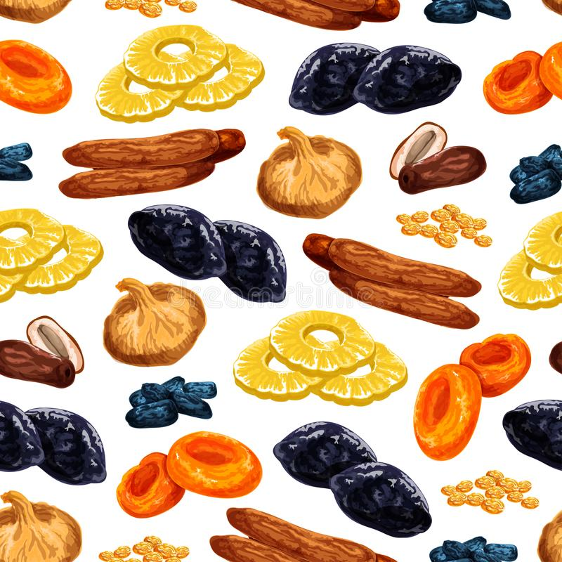 Vector seamless pattern of dried fruits snacks. Dried fruits seamless pattern of sweet dry fruit snacks. Vector tile of dried raisins, prunes or apricot and stock illustration