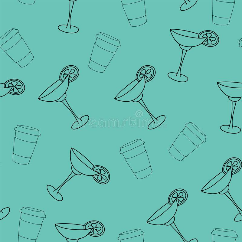 Vector seamless pattern drink with ice alcohol margarita in a glass. Cocktail on a green background for textile print and restaurant menu royalty free illustration