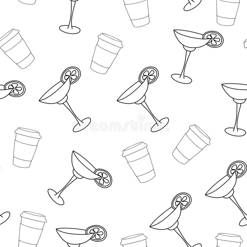 Vector seamless pattern drink with ice alcohol margarita in a glass. Cocktail on a white background for textile print and restaurant menu stock illustration
