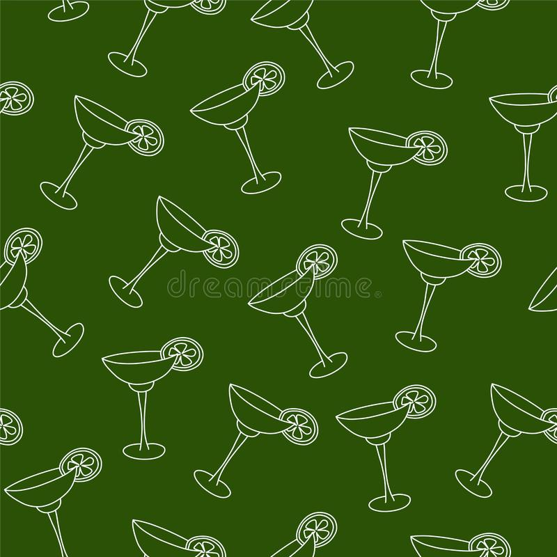 Vector seamless pattern drink with ice alcohol margarita. In a glass, cocktail on a green background for textile print and restaurant menu stock illustration