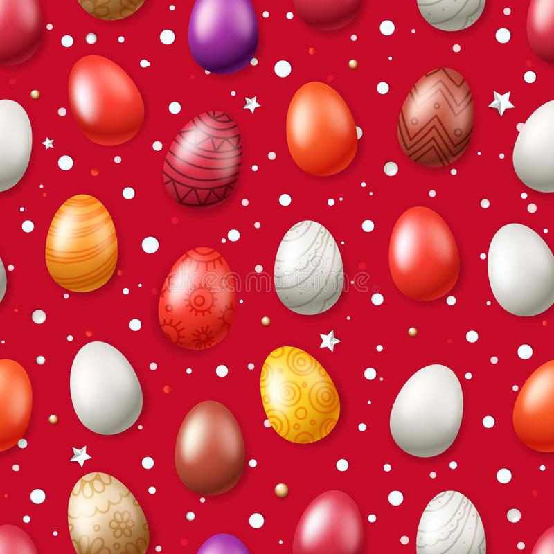 Vector seamless pattern with Easter eggs stock illustration