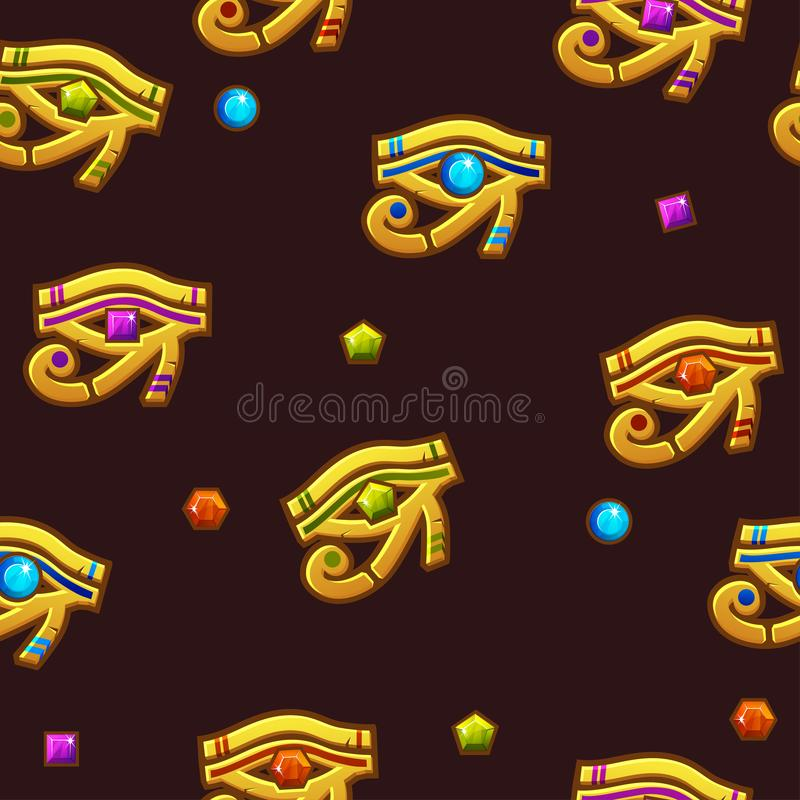 Seamless pattern Egypt Eye of Horus with colored precious gems, golden icon. vector illustration