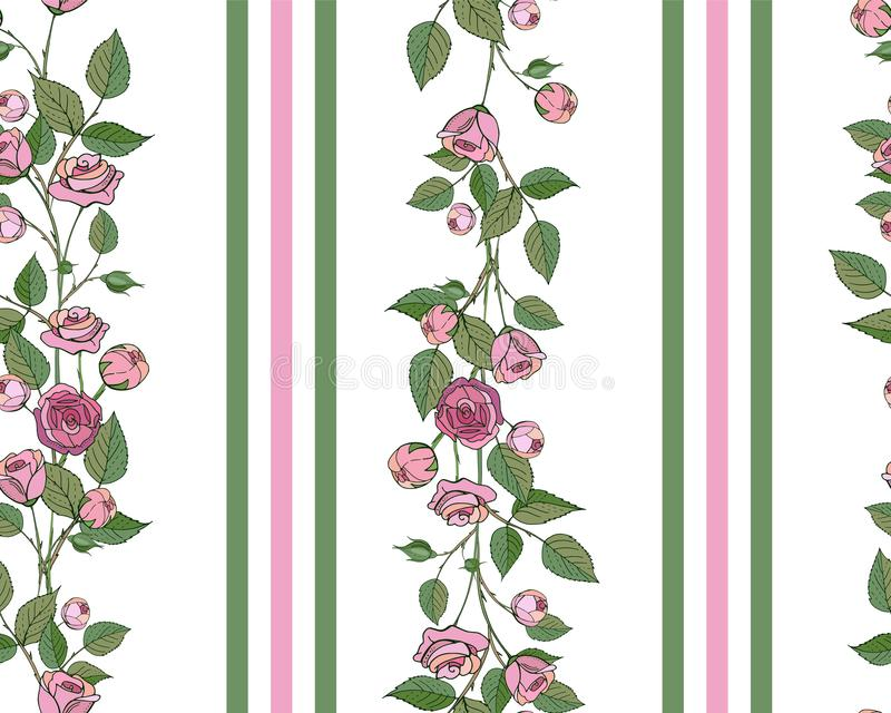 Vector seamless pattern. Endless texture with hand drawn rose branches. Roses, rose buds and leaves isolated on a white royalty free illustration