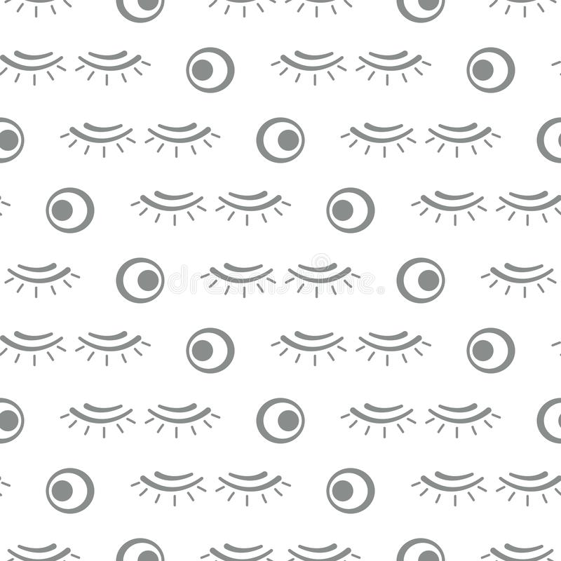 Vector seamless pattern with eyelashes. Makeup stock illustration