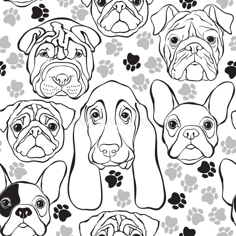 Vector seamless pattern with faces dogs and traces. Monochrome b. Animal background. Monochrome pattern with faces dogs vector illustration