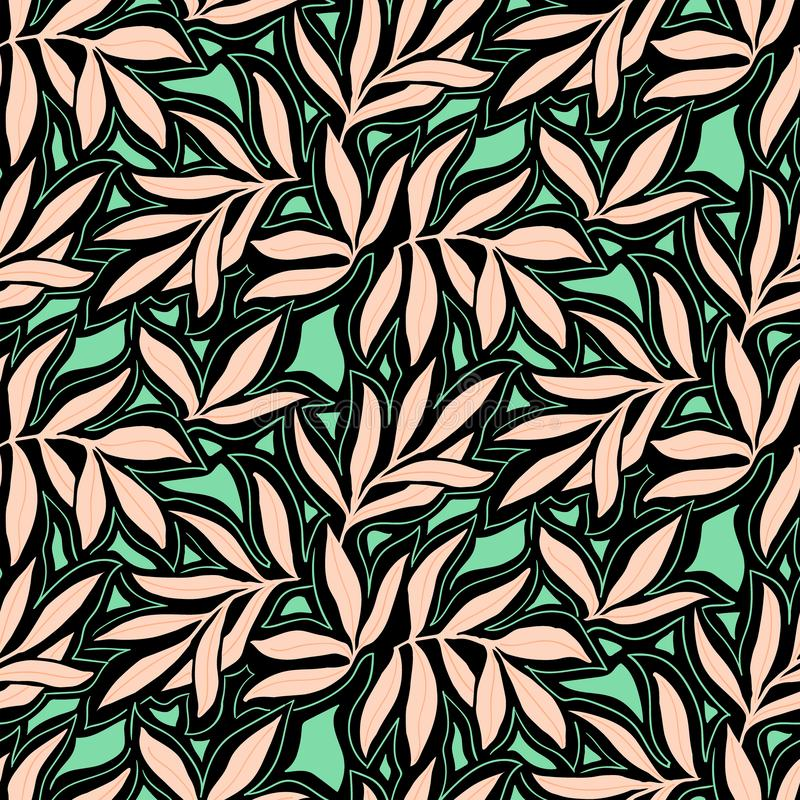 Vector seamless pattern with fall leaves. Elegant modern autumn background. Bold vintage print with leaves on black background for autumn fall fashion stock illustration