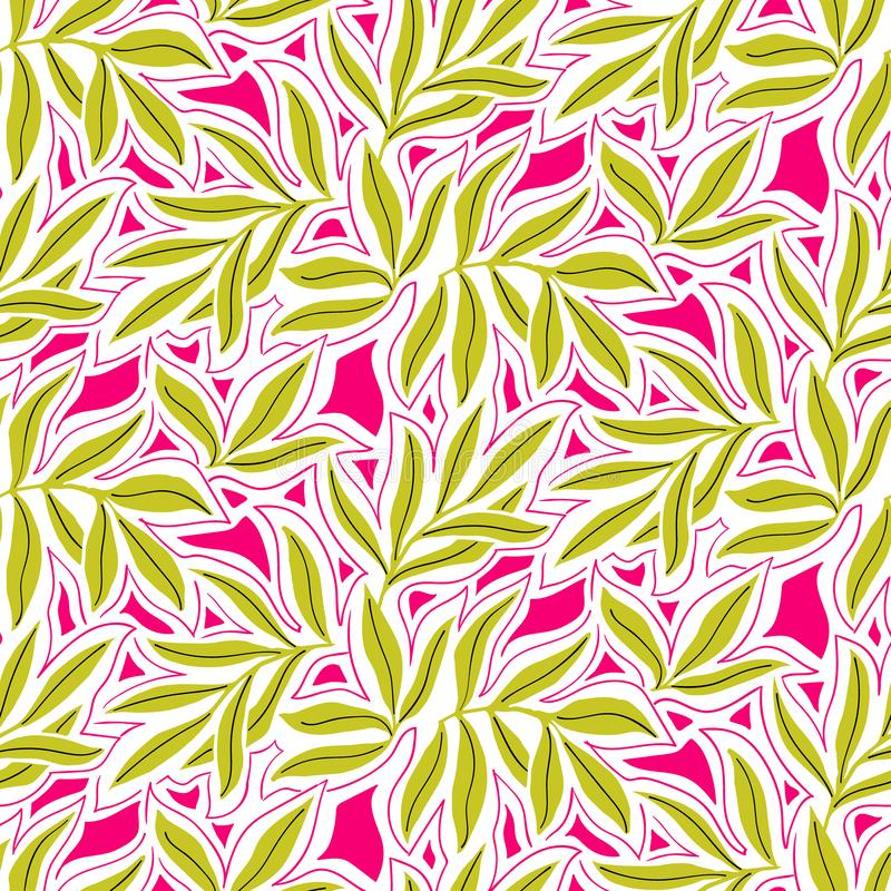 Vector seamless pattern with fall leaves. Elegant modern autumn background. Bold vintage print with leaves on pink background for autumn fall fashion royalty free illustration