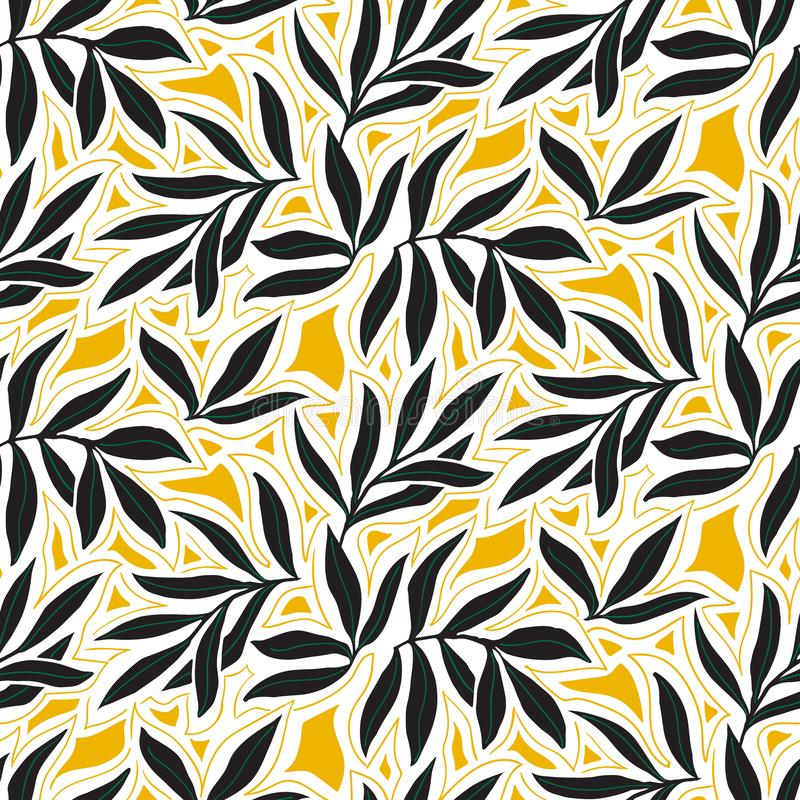 Vector seamless pattern with fall leaves. Elegant modern autumn background. Bold vintage print with leaves on yellow background for autumn fall fashion vector illustration