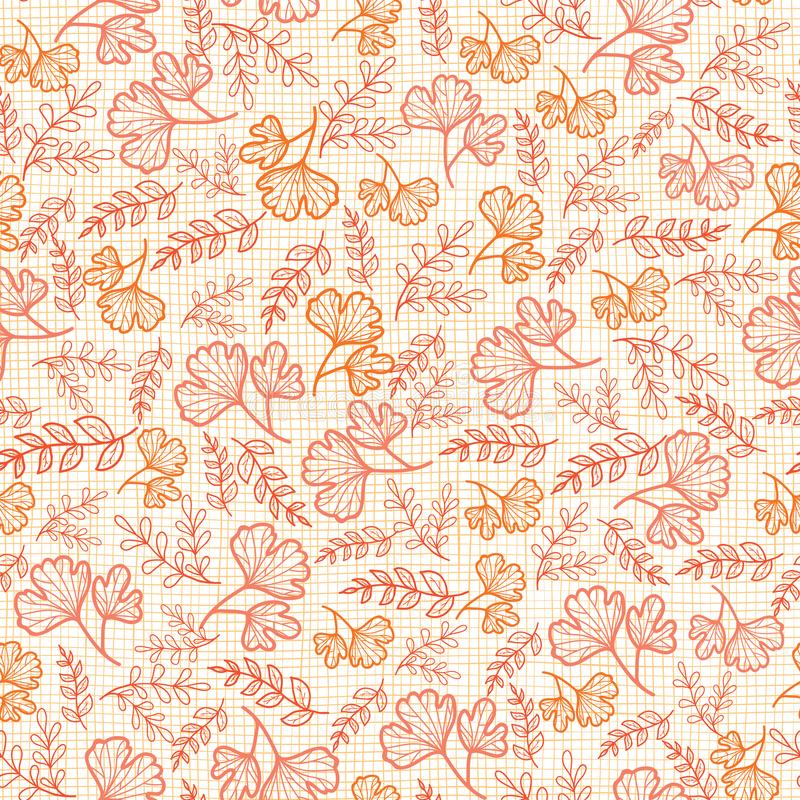 Vector seamless pattern with fall leaves on linen texture. Background for fabric or book covers, manufacturing. Wallpapers, print, gift wrap, scrapbooking royalty free illustration