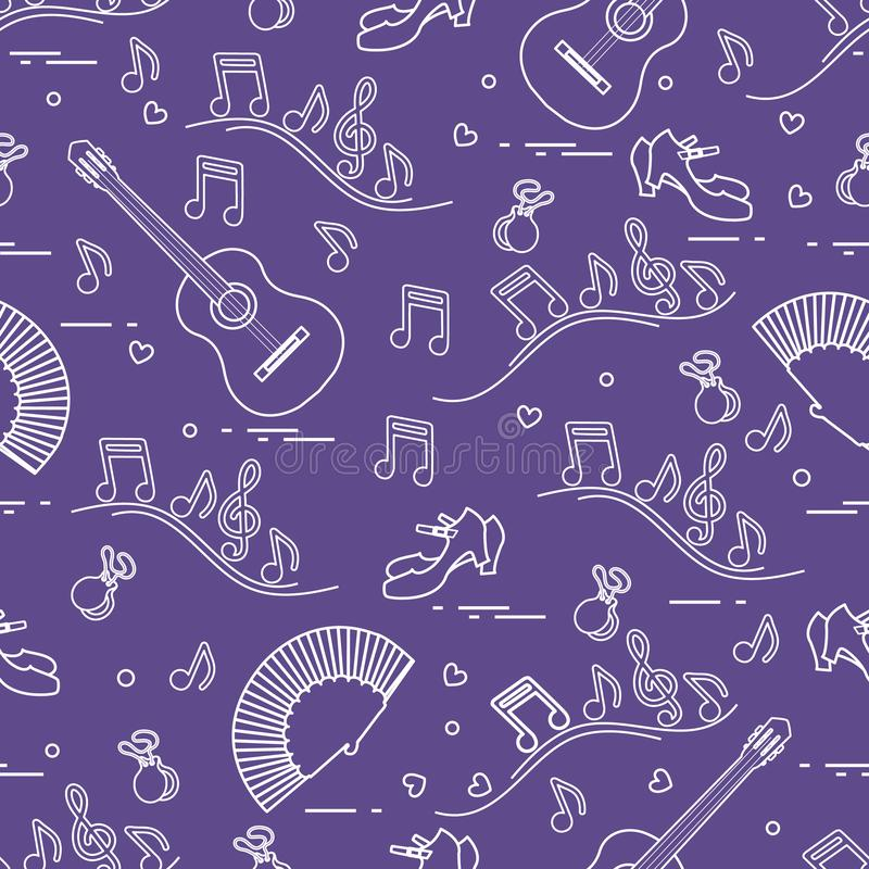Seamless pattern with fan, shoes, castanets, notes, guitars. Travel and leisure. Traditional symbols of Spain. Vector. Seamless pattern with fan, shoes vector illustration