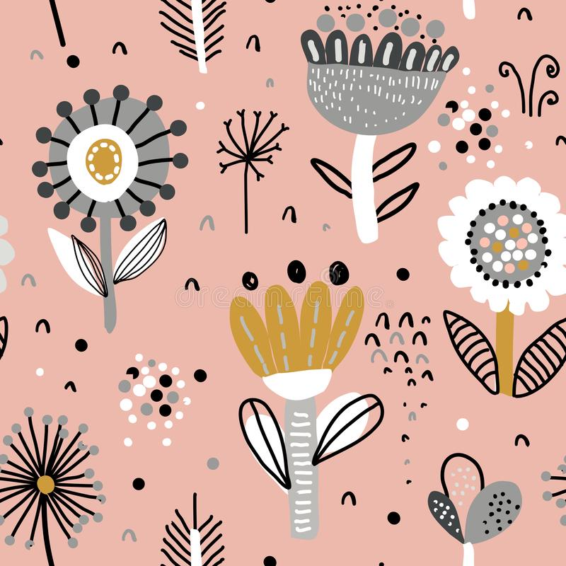 Vector seamless pattern with fancy flowers. Scandinavian motives. Hand drawn doodle style stock illustration