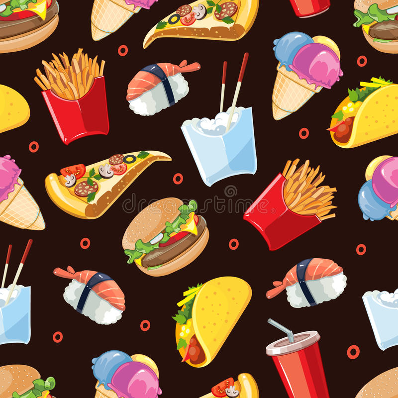 Vector seamless pattern with fast food icon set. Burger, plastic glass with cold drink, French fries, tacos, pizza, sushi. Pictures isolate on dark background vector illustration