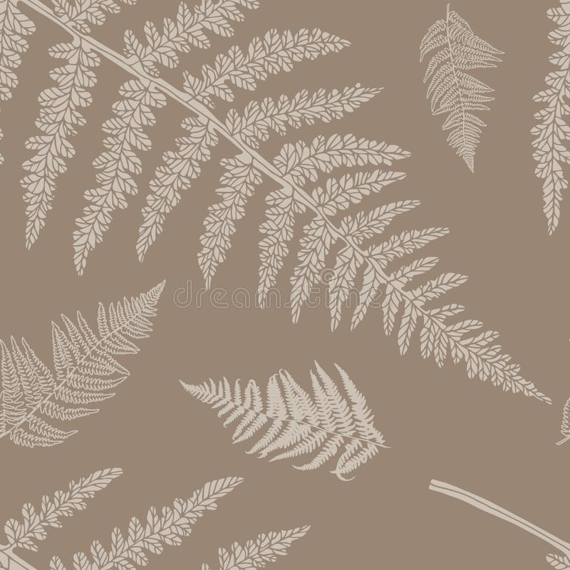 Vector seamless pattern with fern. Seamless floral pattern with fern. Vector silhouettes in brown and beige colours. Endless texture for fashion design, textile royalty free illustration