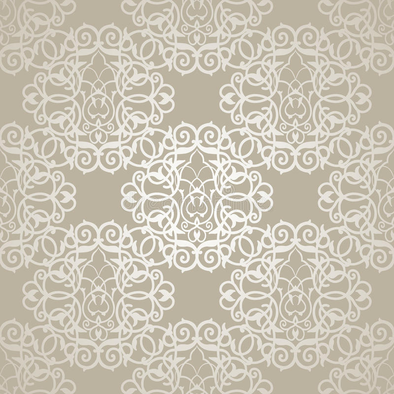 Download Vector Seamless Pattern With Filigree Ornament Stock