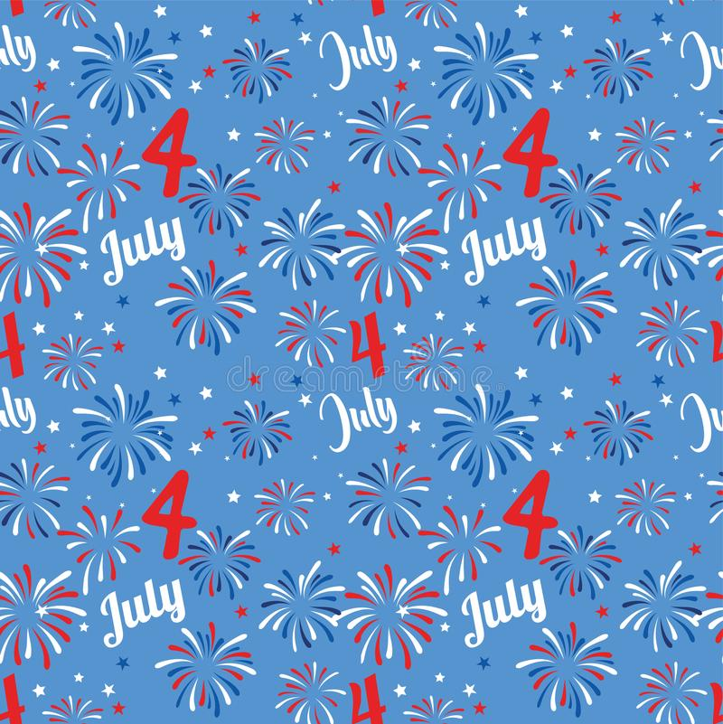 Vector seamless pattern with fireworks. National colors of the United States. American flag,stars and stripes. Use for stock illustration