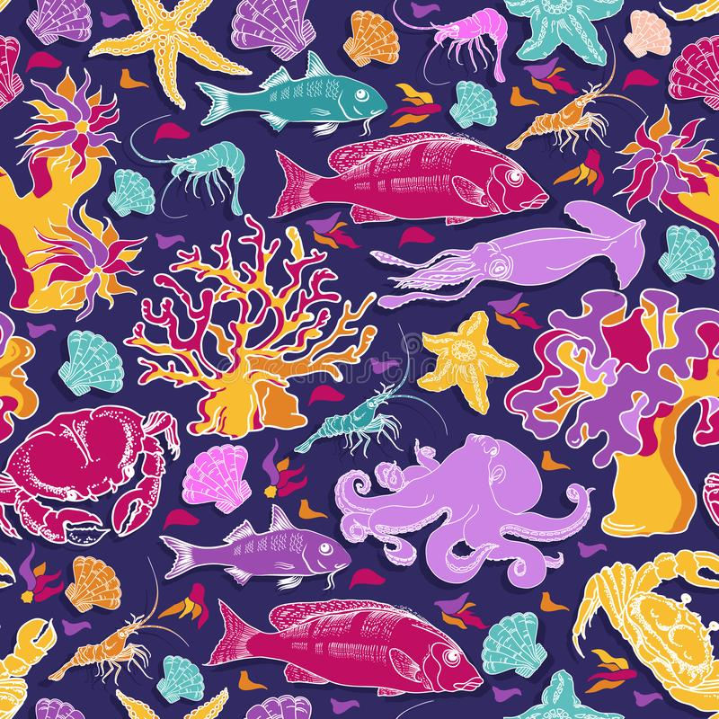 Vector seamless pattern of fish, crab, squid, octopus. vector illustration
