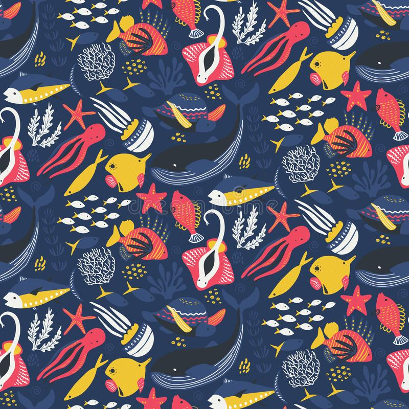 Vector seamless pattern with fish and sea animals royalty free illustration