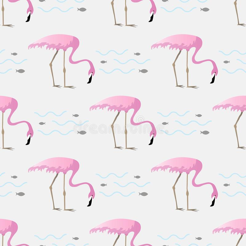 Vector seamless pattern with flamingo birds on a lake,surrounded by fish royalty free illustration