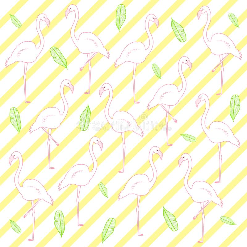 Vector seamless pattern with flamingo and green leaves. Tropical flamingo pattern. royalty free illustration