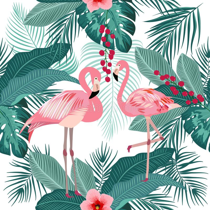 Vector seamless pattern of flamingo, leaves monstera. Tropical l royalty free illustration