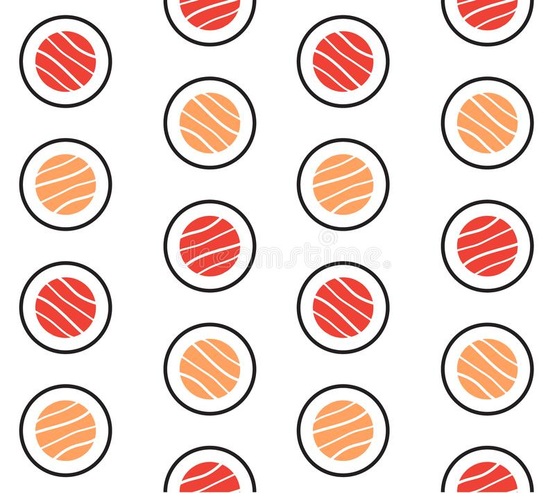 Vector seamless pattern of flat fish sushi rolls stock illustration