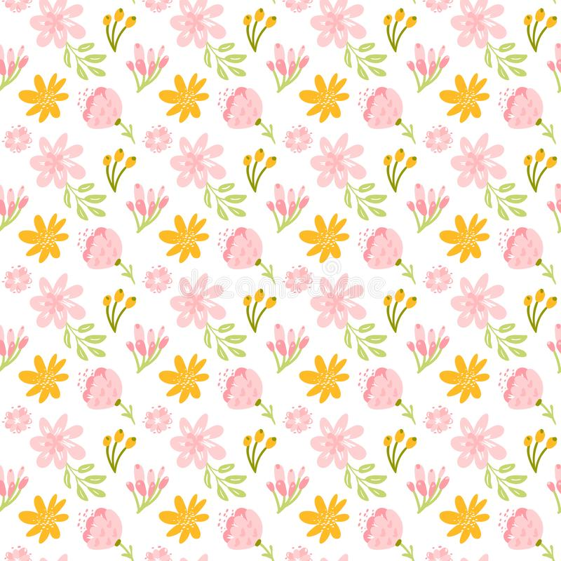 Vector seamless pattern with flat flower bouquet and leaves. Cute floral background for your design. Pastel colors - vector illustration