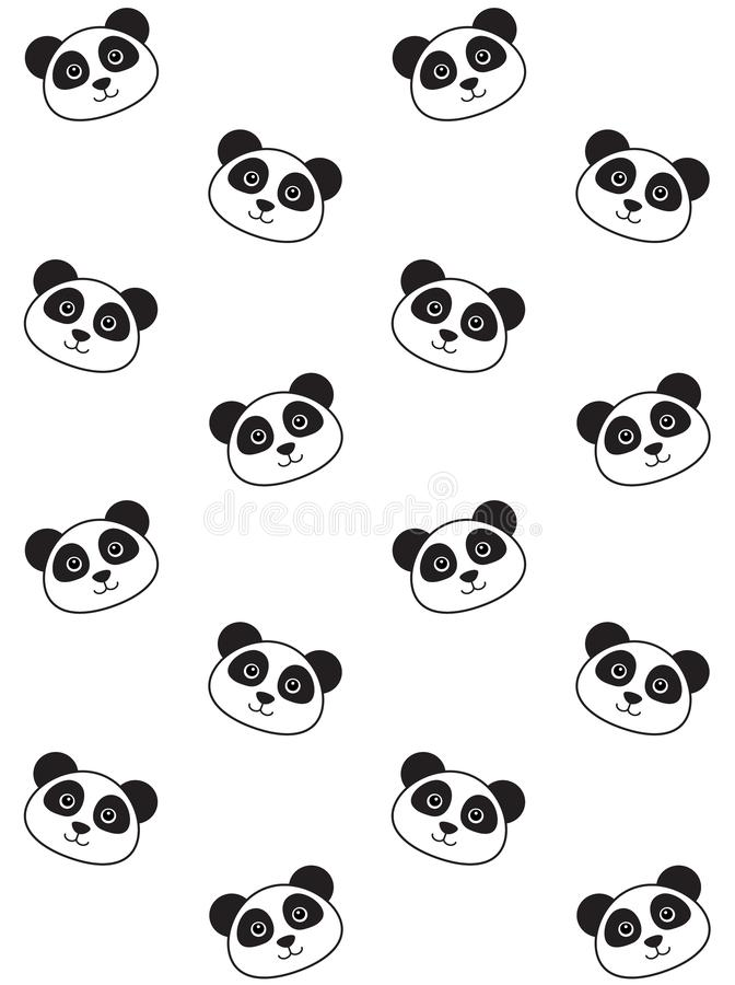 Vector seamless pattern of flat kawaii panda face stock illustration