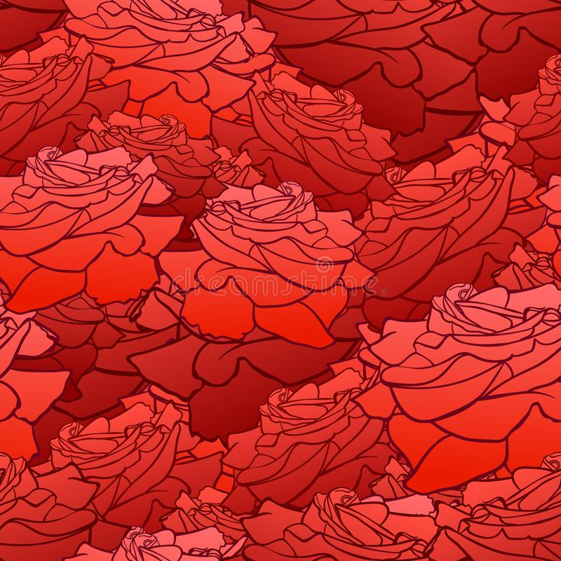 Vector Seamless Pattern, Floral Background, Roses Heads, Bright Red Color. stock illustration