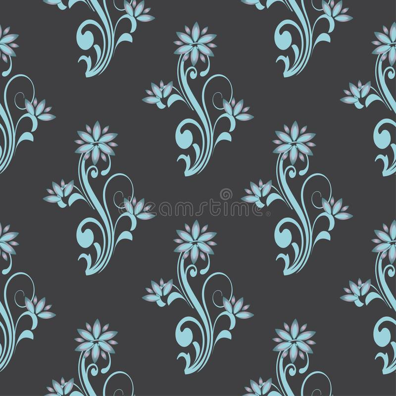 Vector seamless pattern with floral curve decorative ornaments. Stylish flower themes backdrop for textiles and any other design. stock illustration