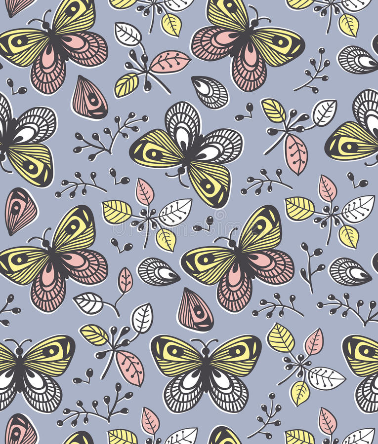 Vector seamless pattern with flowers, butterfly and berries, cute illustration. stock illustration
