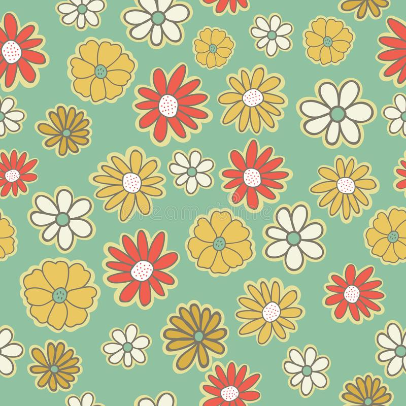 Vector seamless pattern with flowers of doodles background. Simple romantic color floral background in hand drawn. Vector seamless pattern with flowers of vector illustration