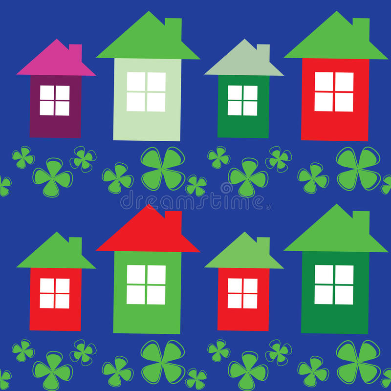 Download Vector Seamless Pattern Of Flowers And Houses Stock Vector - Illustration of background, decorative: 37118625