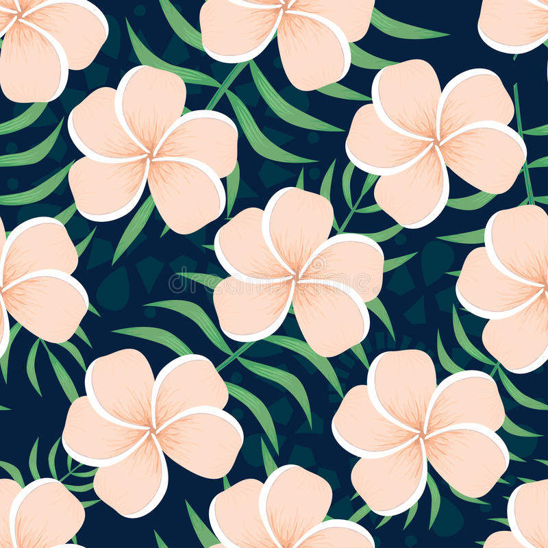 Vector seamless pattern with flowers and leaves stock image